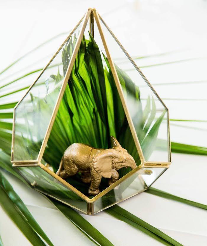 Modern Glass Geometric Jungle Centerpiece from a Wild One Birthday Party on Kara's Party Ideas | KarasPartyIdeas.com (23)