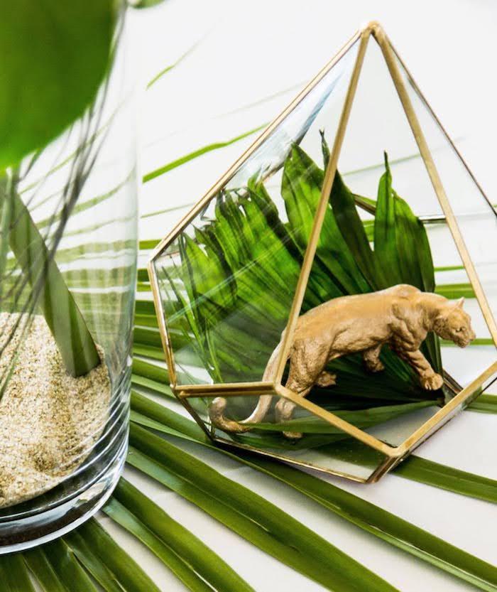 Modern Glass Geometric Jungle Centerpiece from a Wild One Birthday Party on Kara's Party Ideas | KarasPartyIdeas.com (21)
