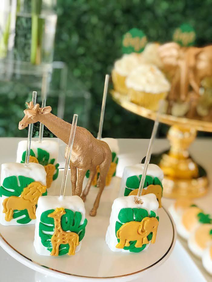 Safari Animal Krispie Treat Pops from a Wild One Birthday Party on Kara's Party Ideas | KarasPartyIdeas.com (20)