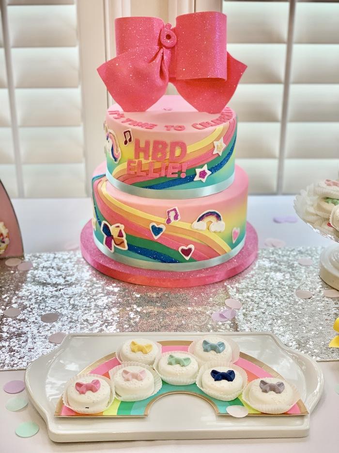 Jojo Siwa-inspired Cake & Oreos from a Jojo Siwa Dream Big Birthday Party on Kara's Party Ideas | KarasPartyIdeas.com