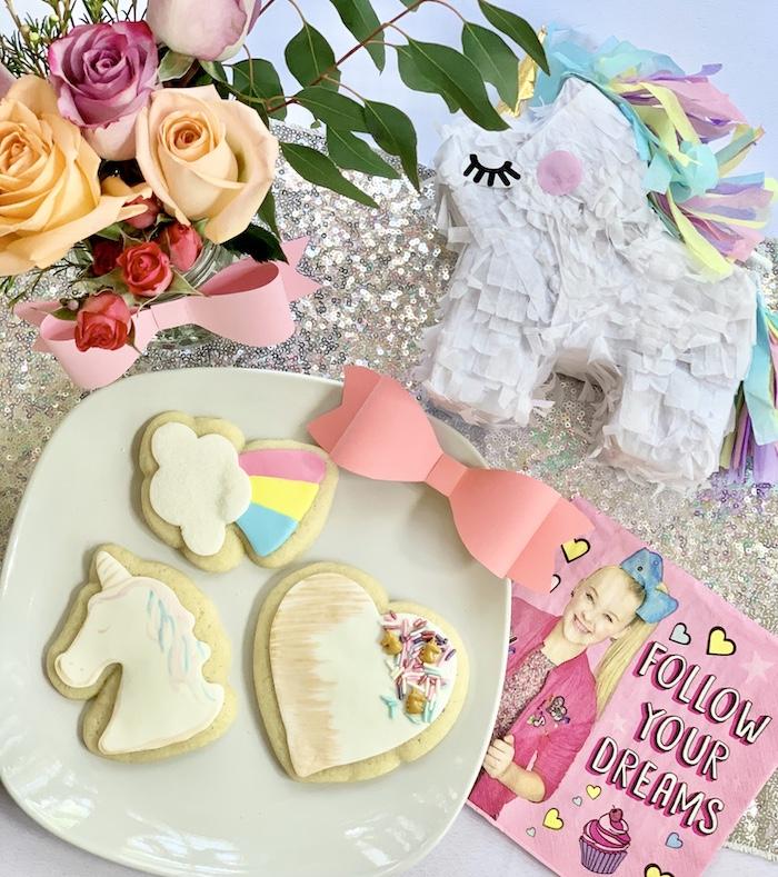 Jojo Siwa-inspired Cookies from a Jojo Siwa Dream Big Birthday Party on Kara's Party Ideas | KarasPartyIdeas.com