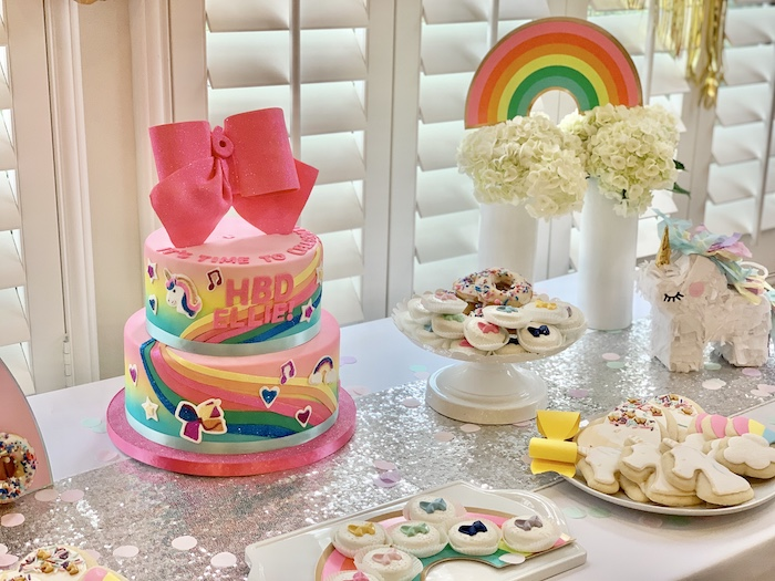 Jojo Siwa-inspired Dessert Table from a Jojo Siwa Dream Big Birthday Party on Kara's Party Ideas | KarasPartyIdeas.com