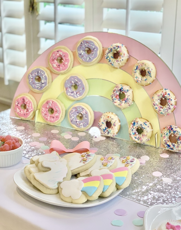 Rainbow Donut Wall from a Jojo Siwa Dream Big Birthday Party on Kara's Party Ideas | KarasPartyIdeas.com