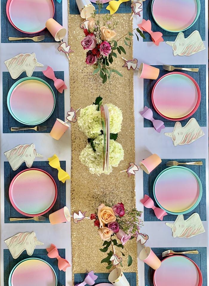 Rainbow Glam Guest Tabletop from a Jojo Siwa Dream Big Birthday Party on Kara's Party Ideas | KarasPartyIdeas.com