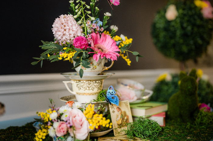 Tea Cup Bloom Centerpiece from an Alice in ONEderland 1st Birthday Tea Party on Kara's Party Ideas | KarasPartyIdeas.com (24)
