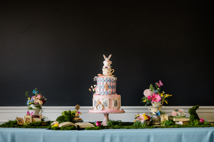 Alice in Wonderland Cake Table from an Alice in ONEderland 1st Birthday Tea Party on Kara's Party Ideas | KarasPartyIdeas.com (23)