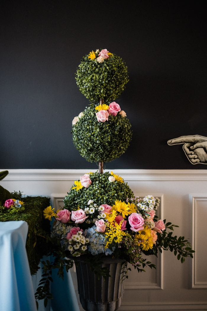 Alice in Wonderland-inspired Topiary from an Alice in ONEderland 1st Birthday Tea Party on Kara's Party Ideas | KarasPartyIdeas.com (19)