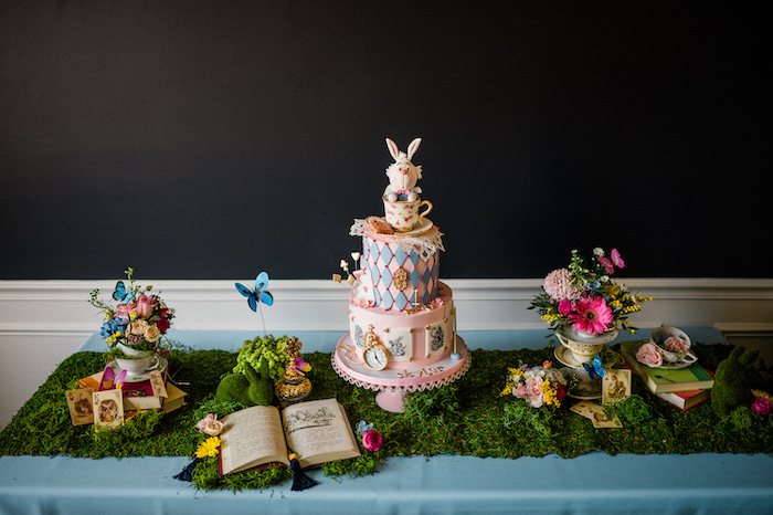 Alice in Wonderland Cake Table from an Alice in ONEderland 1st Birthday Tea Party on Kara's Party Ideas | KarasPartyIdeas.com (18)