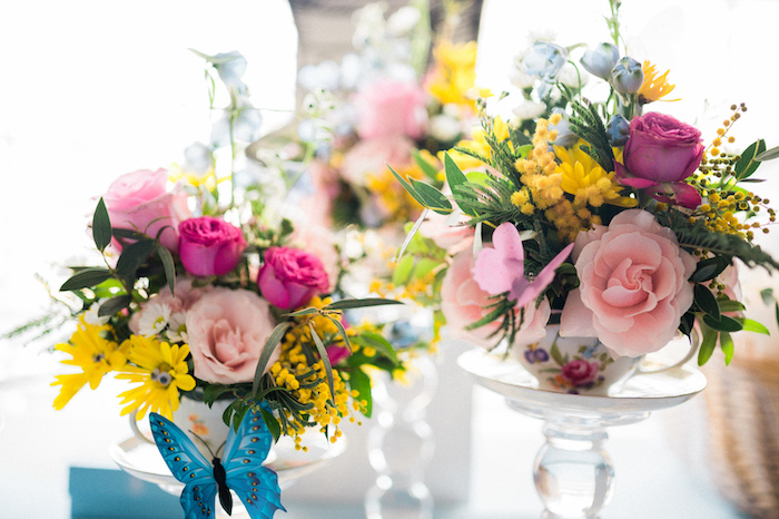 Tea Cup Blooms from an Alice in ONEderland 1st Birthday Tea Party on Kara's Party Ideas | KarasPartyIdeas.com (15)