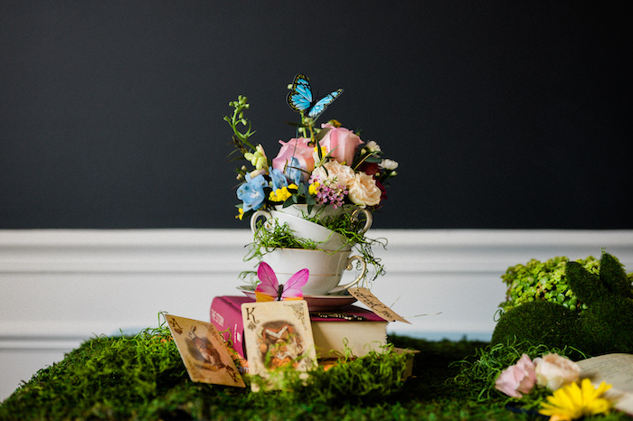 Tea Cup Floral Arrangement from an Alice in ONEderland 1st Birthday Tea Party on Kara's Party Ideas | KarasPartyIdeas.com (33)