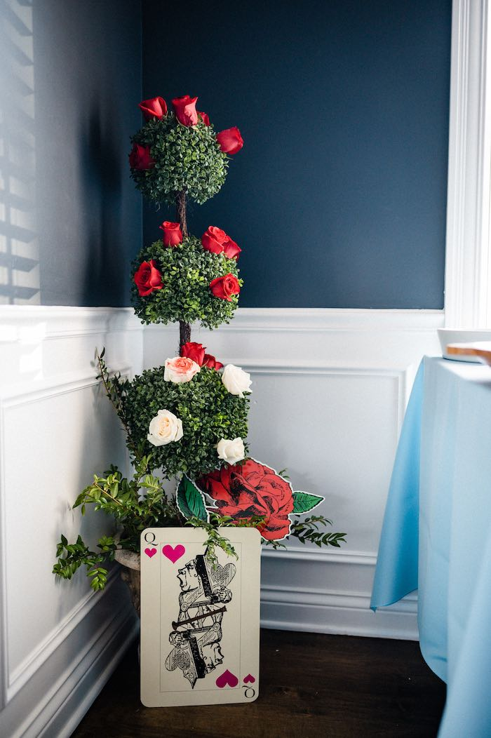 Queen of Hearts Topiary from an Alice in ONEderland 1st Birthday Tea Party on Kara's Party Ideas | KarasPartyIdeas.com (14)