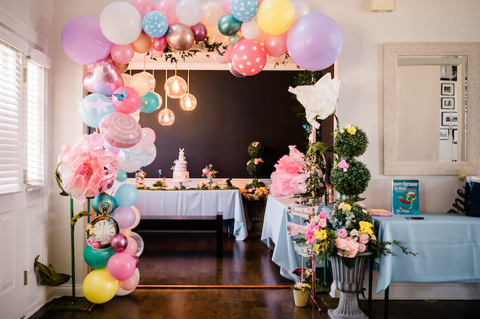 Alice in Wonderland Balloon Garland from an Alice in ONEderland 1st Birthday Tea Party on Kara's Party Ideas | KarasPartyIdeas.com (12)