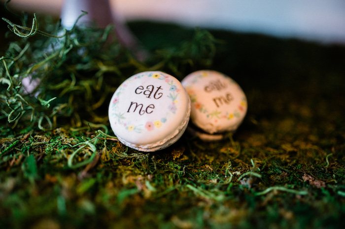 """""""eat me"""" Macarons from an Alice in ONEderland 1st Birthday Tea Party on Kara's Party Ideas 