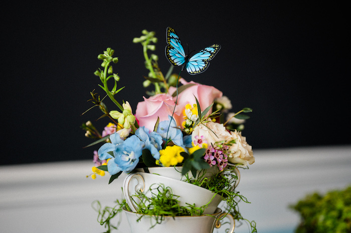 Tea Cup Floral Arrangement from an Alice in ONEderland 1st Birthday Tea Party on Kara's Party Ideas | KarasPartyIdeas.com (32)