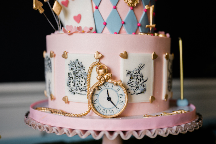 Alice in Wonderland Cake from an Alice in ONEderland 1st Birthday Tea Party on Kara's Party Ideas | KarasPartyIdeas.com (28)