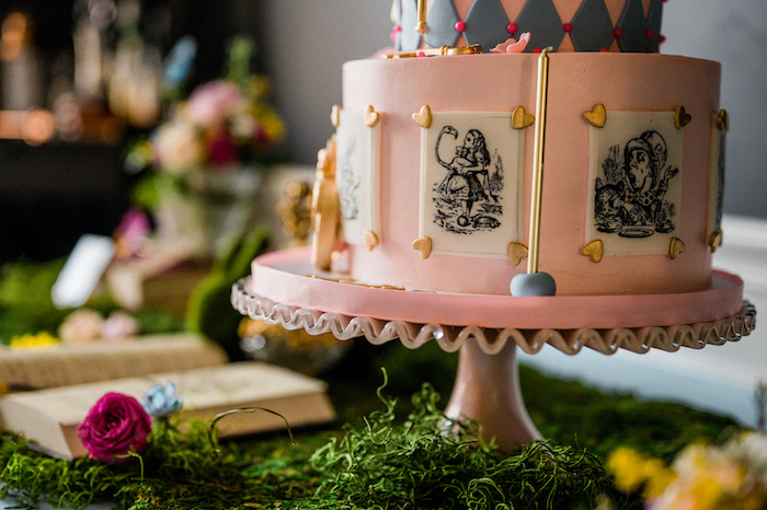 Alice in Wonderland Cake from an Alice in ONEderland 1st Birthday Tea Party on Kara's Party Ideas | KarasPartyIdeas.com (27)
