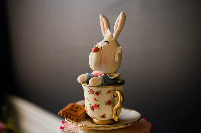 Alice in Wonderland Rabbit Cake Topper from an Alice in ONEderland 1st Birthday Tea Party on Kara's Party Ideas | KarasPartyIdeas.com (26)