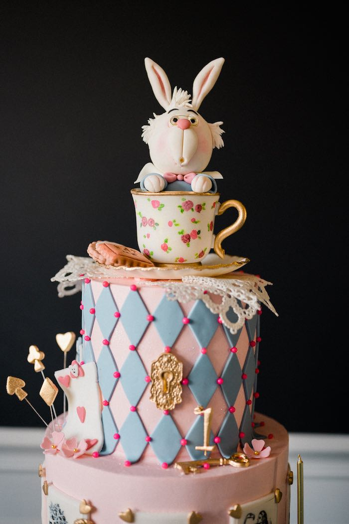Alice in Wonderland Cake from an Alice in ONEderland 1st Birthday Tea Party on Kara's Party Ideas | KarasPartyIdeas.com (25)