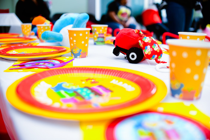 Guest Table from a BabyFirst TV Inspired Birthday Party on Kara's Party Ideas | KarasPartyIdeas.com (18)
