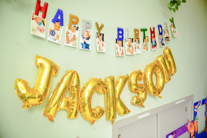 First Year Photo Banner + Balloon Name Sign from a BabyFirst TV Inspired Birthday Party on Kara's Party Ideas | KarasPartyIdeas.com (14)