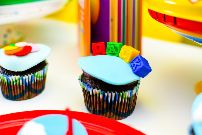 Block Letter Name Cupcake from a BabyFirst TV Inspired Birthday Party on Kara's Party Ideas | KarasPartyIdeas.com (13)