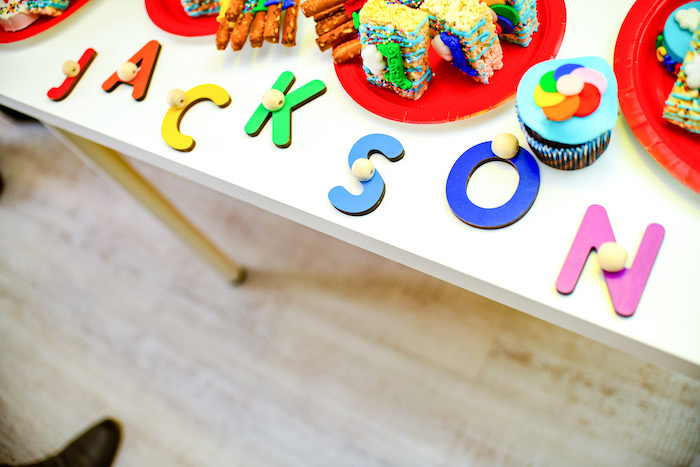 Colorful Letter Name Sign from a BabyFirst TV Inspired Birthday Party on Kara's Party Ideas | KarasPartyIdeas.com (8)
