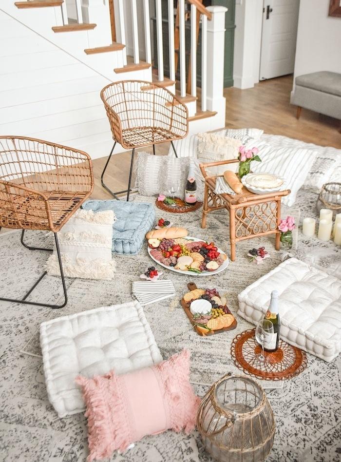 Romantic Date NightQuarantine Idea Bed Bath Beyond Picnic Living Room- Kara's Party Ideas