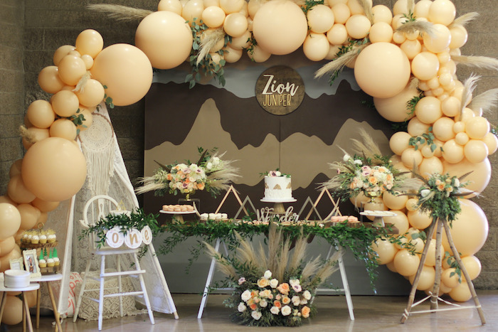 Mountain Range Sweet Table from a Boho Outdoor Adventure Birthday Party on Kara's Party Ideas | KarasPartyIdeas.com (18)