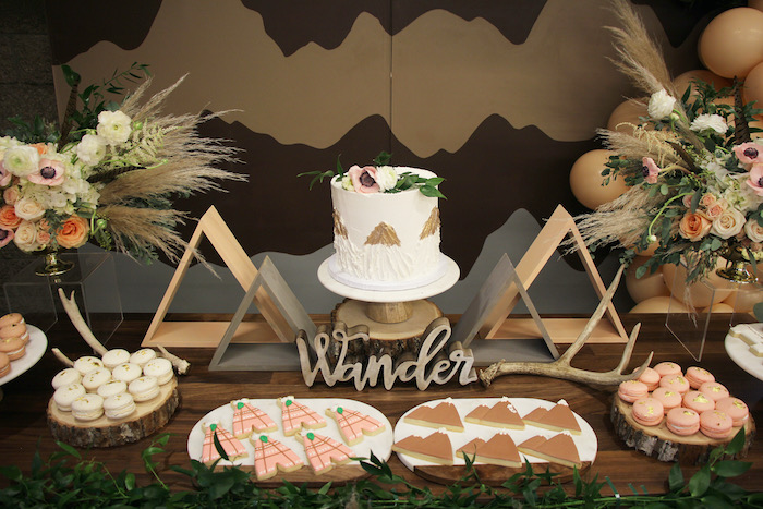 Mountain Range Sweet Table from a Boho Outdoor Adventure Birthday Party on Kara's Party Ideas | KarasPartyIdeas.com (16)