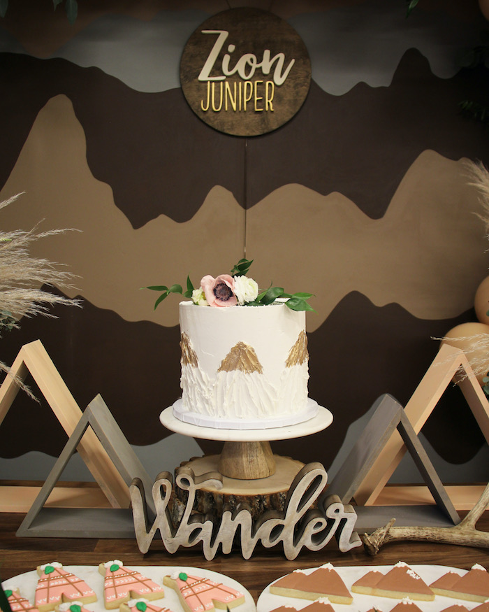 Glam Mountain Range Cake from a Boho Outdoor Adventure Birthday Party on Kara's Party Ideas | KarasPartyIdeas.com (15)
