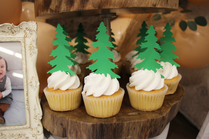 Forest Cupcakes from a Boho Outdoor Adventure Birthday Party on Kara's Party Ideas | KarasPartyIdeas.com (9)