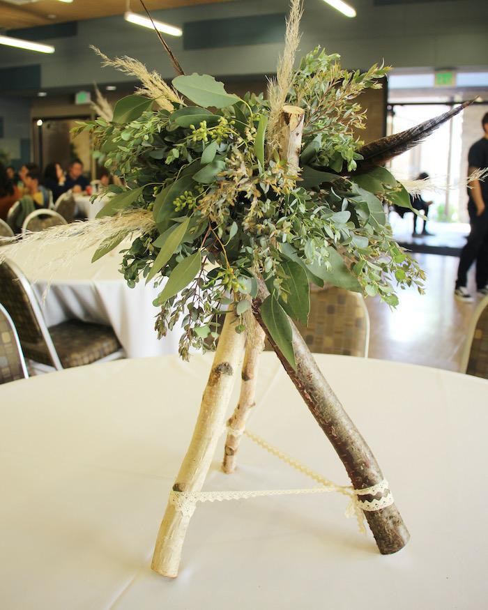 Twig Teepee & Greenery Centerpiece from a Boho Outdoor Adventure Birthday Party on Kara's Party Ideas | KarasPartyIdeas.com (8)