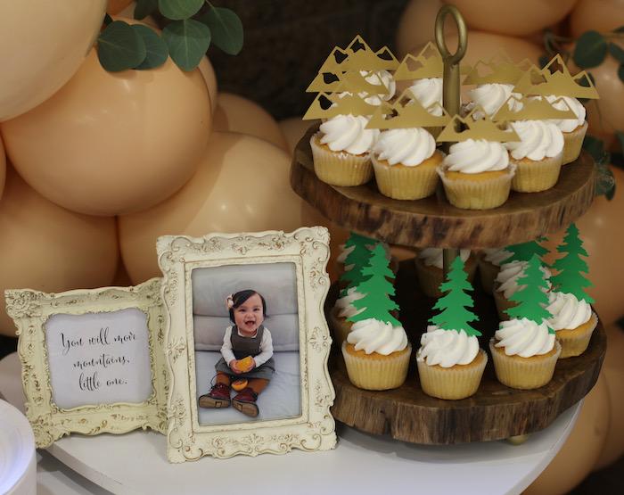 Mountain Cupcake Platter from a Boho Outdoor Adventure Birthday Party on Kara's Party Ideas | KarasPartyIdeas.com (28)