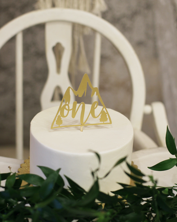 White Cake with Mountain Topper from a Boho Outdoor Adventure Birthday Party on Kara's Party Ideas | KarasPartyIdeas.com (27)