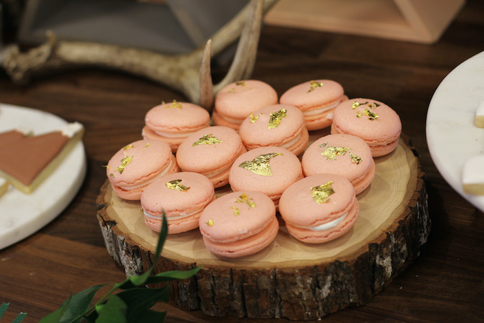 Macarons accented with gold flakes from a Boho Outdoor Adventure Birthday Party on Kara's Party Ideas | KarasPartyIdeas.com (25)