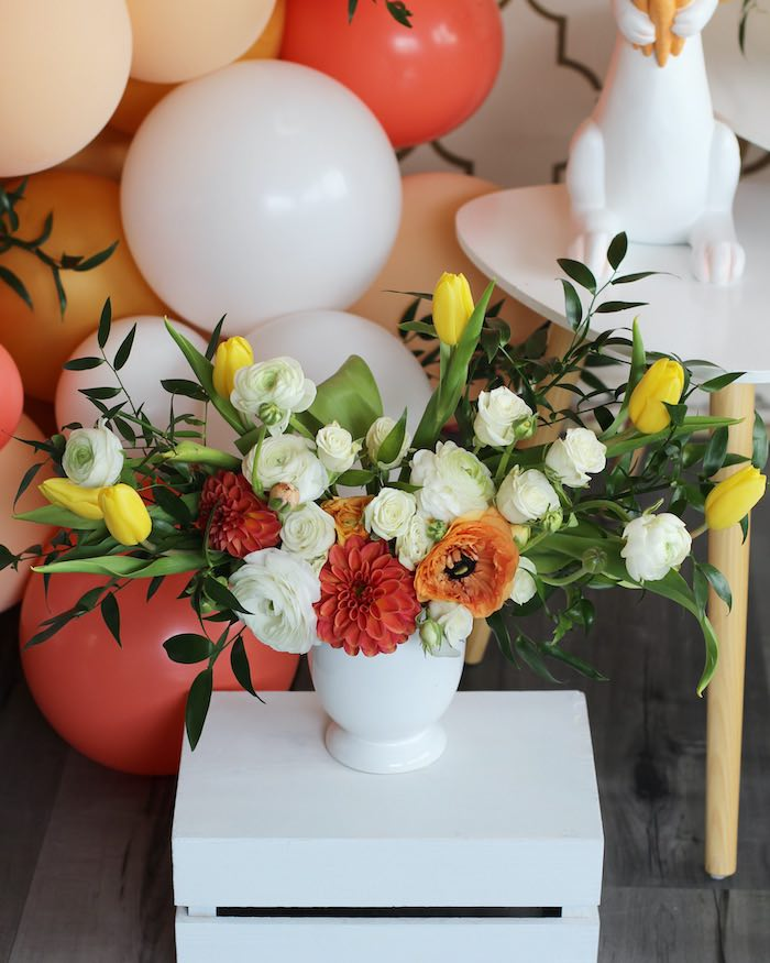 Spring Floral Arrangement from a Carrot Patch Easter Party on Kara's Party Ideas | KarasPartyIdeas.com (26)