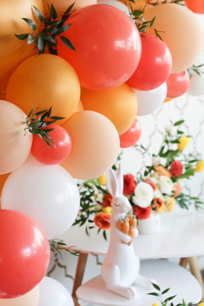 Orange + White Balloon Garland from a Carrot Patch Easter Party on Kara's Party Ideas | KarasPartyIdeas.com (29)