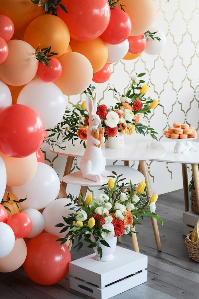 Balloons and Blooms from a Carrot Patch Easter Party on Kara's Party Ideas | KarasPartyIdeas.com (28)