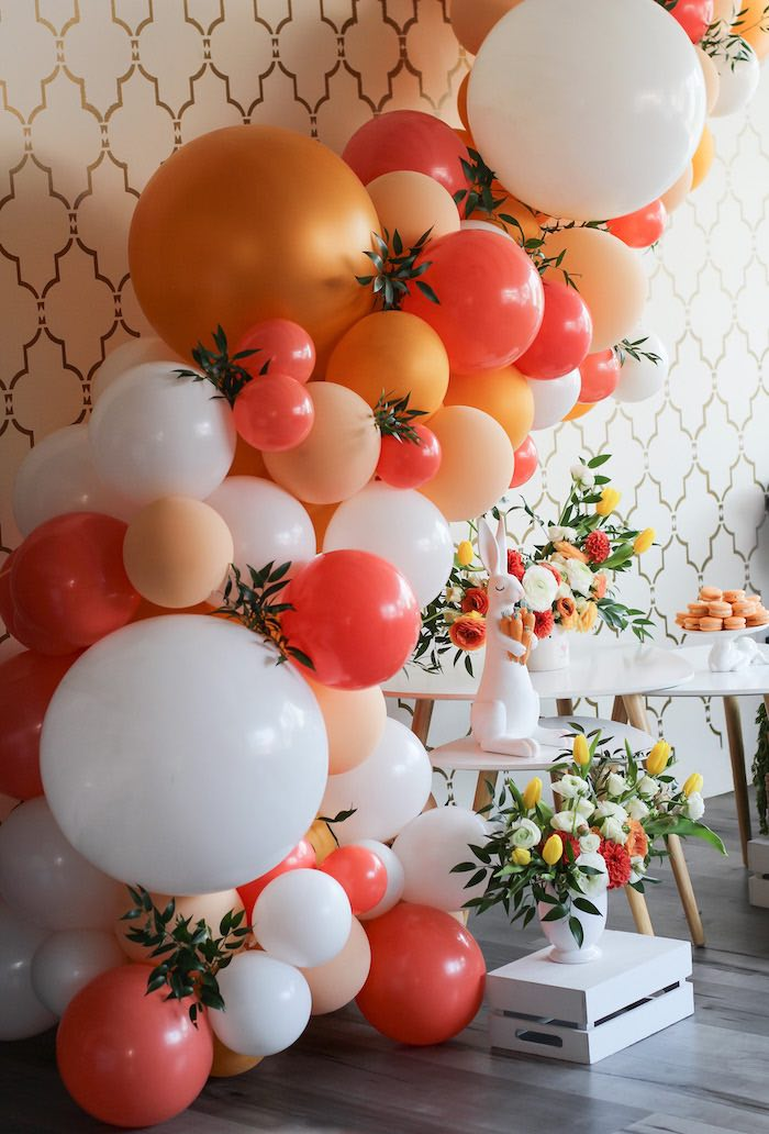 Orange + White Spring-inspired Balloon Garland from a Carrot Patch Easter Party on Kara's Party Ideas | KarasPartyIdeas.com (27)