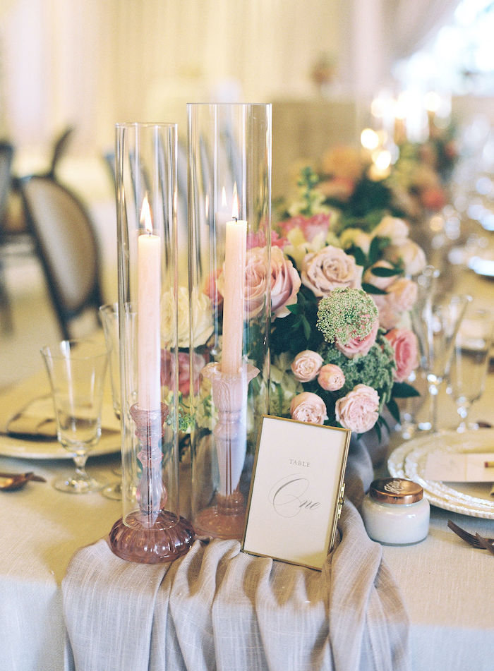 Fluted Candles + Table Number from a Cozy and Luxurious Baby Shower on Kara's Party Ideas | KarasPartyIdeas.com (22)