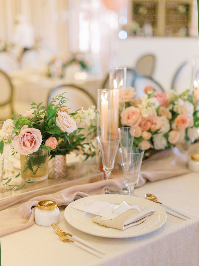 Elegant White & Gold Table Setting from a Cozy and Luxurious Baby Shower on Kara's Party Ideas | KarasPartyIdeas.com (20)
