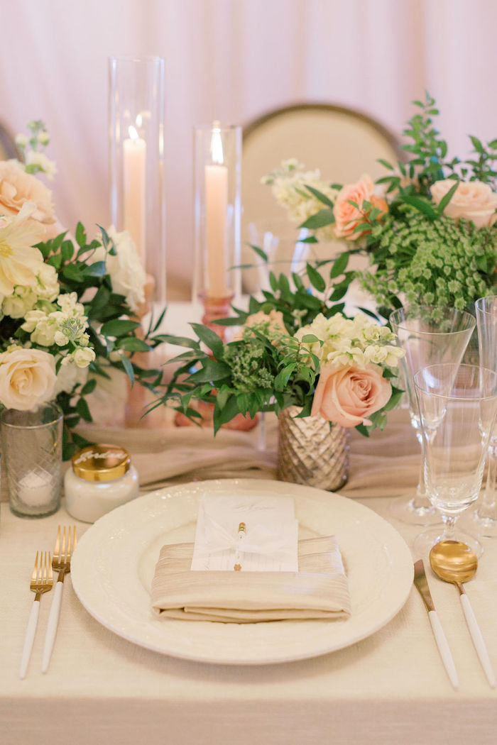 Elegant White & Gold Table Setting from a Cozy and Luxurious Baby Shower on Kara's Party Ideas | KarasPartyIdeas.com (19)