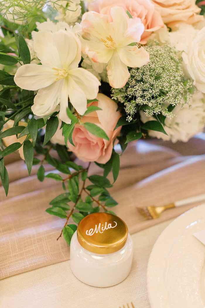 Favor Jar Place Card from a Cozy and Luxurious Baby Shower on Kara's Party Ideas | KarasPartyIdeas.com (17)