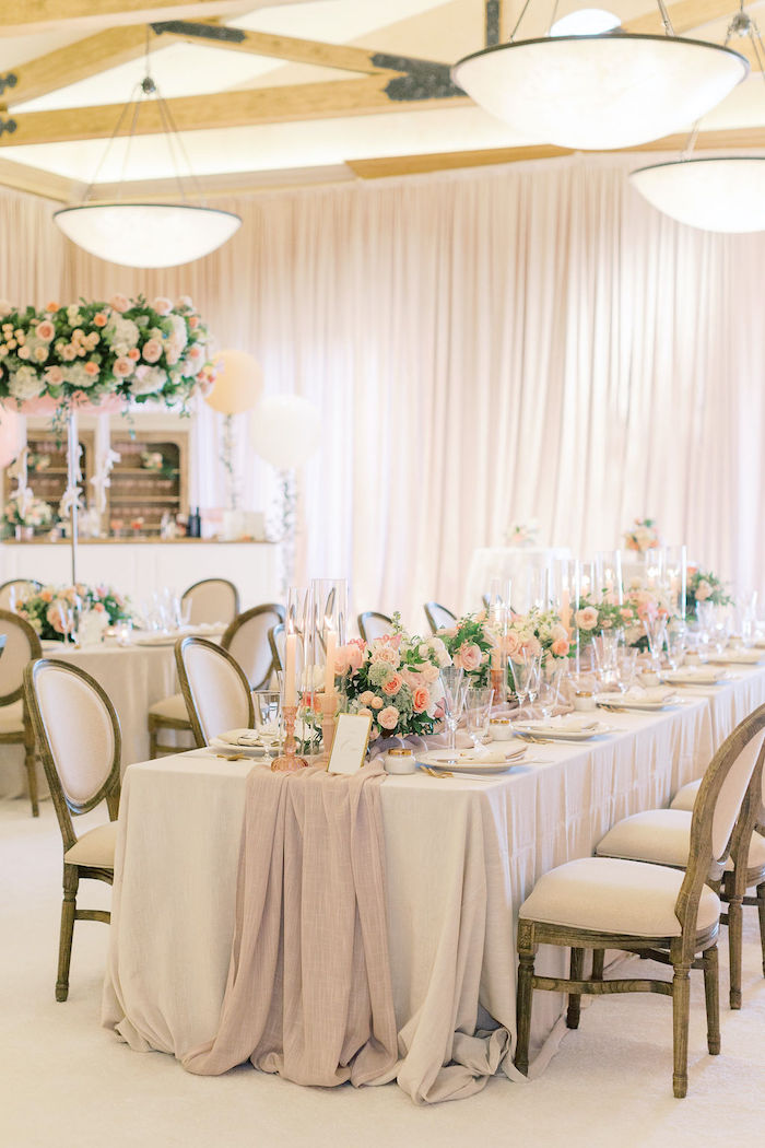 Elegant Neutral-colored Head Table from a Cozy and Luxurious Baby Shower on Kara's Party Ideas | KarasPartyIdeas.com (13)