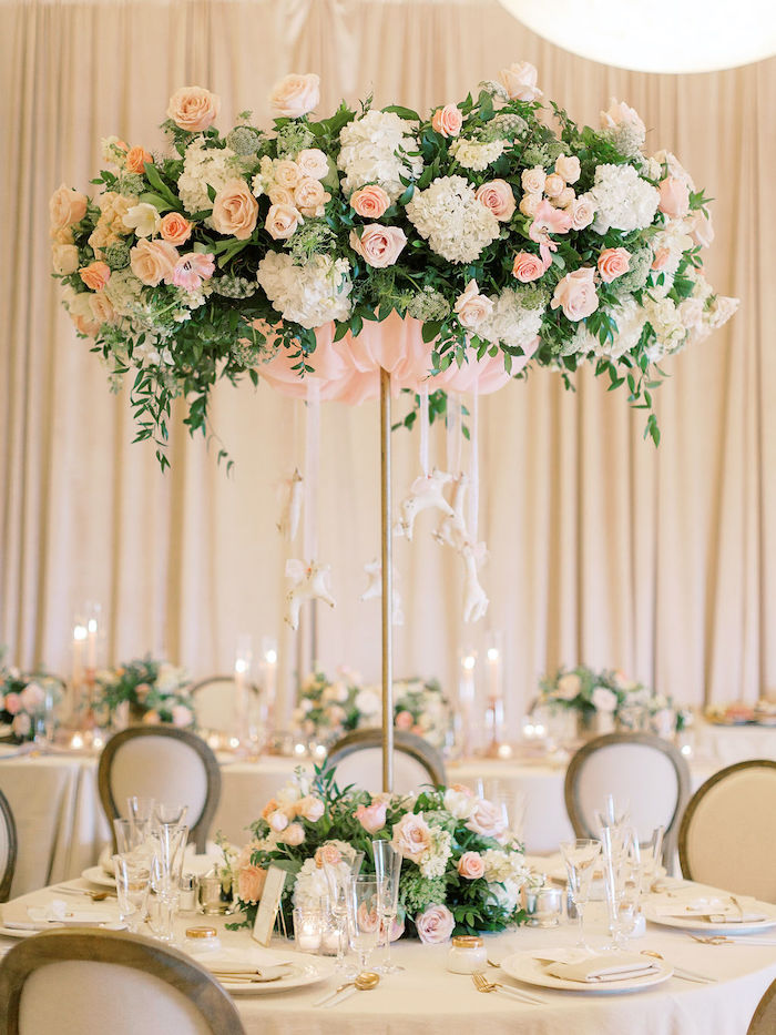 Gorgeous Floral Mobile Centerpiece from a Cozy and Luxurious Baby Shower on Kara's Party Ideas | KarasPartyIdeas.com (12)