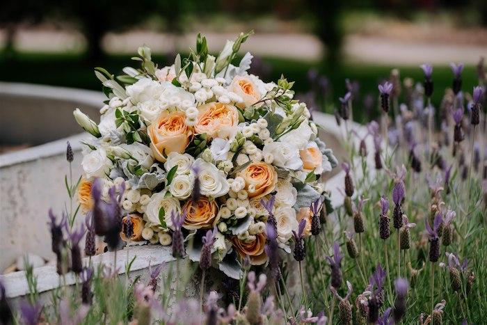 Gorgeous Orange and White Floral Spray from an Elegant Vineyard Wedding on Kara's Party Ideas | KarasPartyIdeas.com (36)