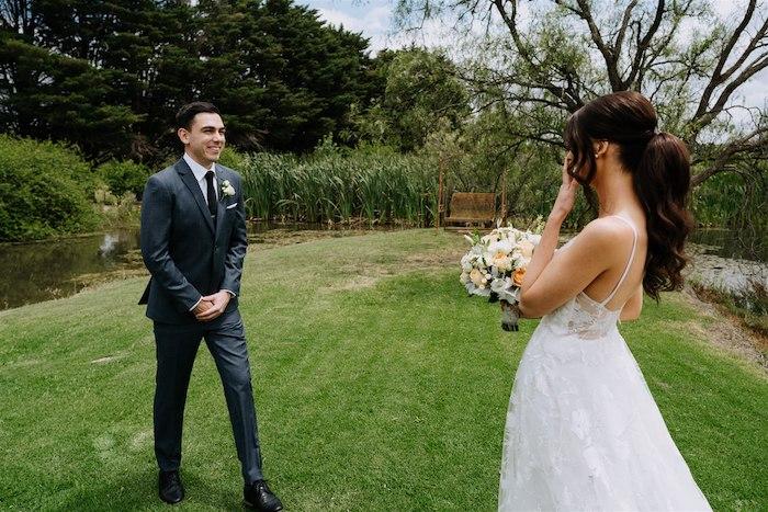 First Look Photo Shoot from an Elegant Vineyard Wedding on Kara's Party Ideas | KarasPartyIdeas.com (30)