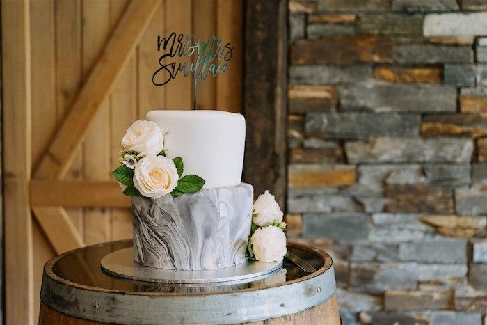 Marble Wedding Cake from an Elegant Vineyard Wedding on Kara's Party Ideas | KarasPartyIdeas.com (18)