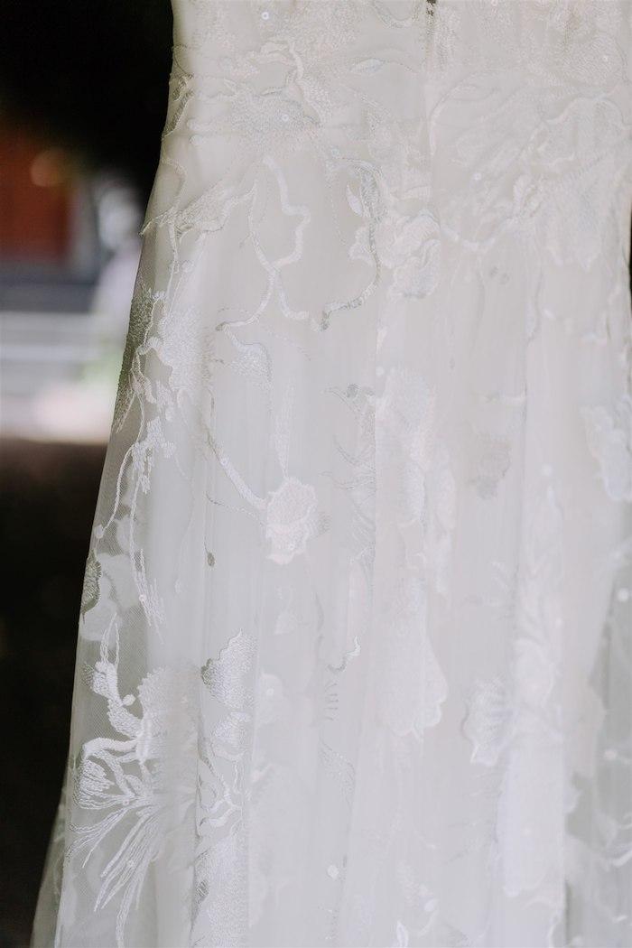 Lace Wedding Dress Detail from an Elegant Vineyard Wedding on Kara's Party Ideas | KarasPartyIdeas.com (41)