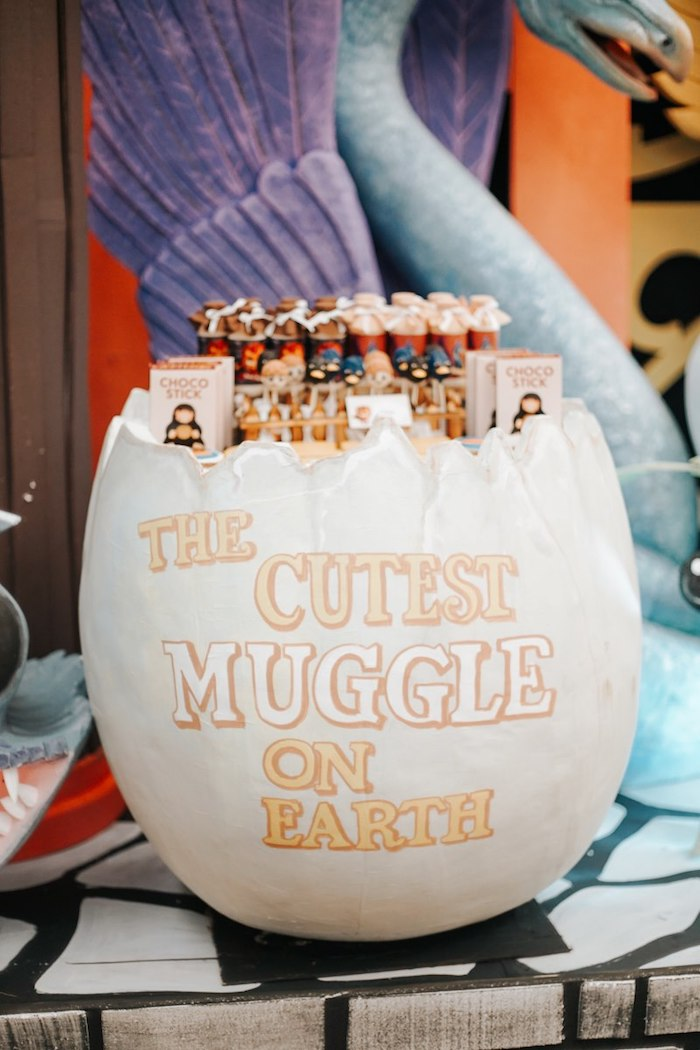 Cutest Muggle on Earth-labeled Dessert Egg from a Fantastic Beasts Birthday Party on Kara's Party Ideas | KarasPartyIdeas.com (20)